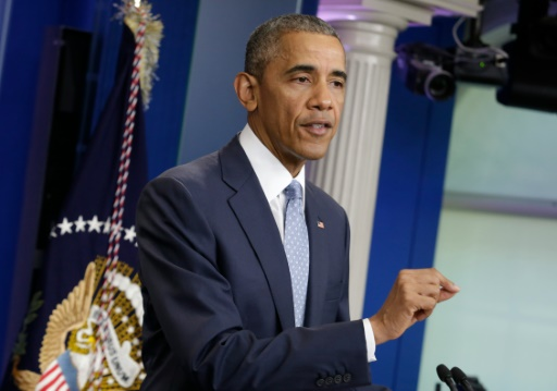Barack Obama a dénoncé le meurtre des trois policiers dans une conférence de presse à la Maison Blanche le 17 juillet 2016 © YURI GRIPAS AFP/Archives