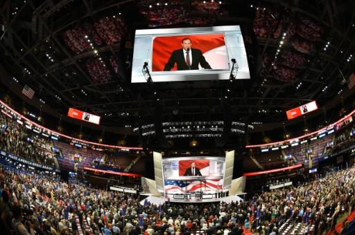 Le rabbin Ari Wolf fait un discours à l'ouverture de la convention républicaine le 18 juillet 2016 à Cleveland, Ohio © Robyn BECK                          AFP