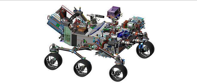 Représentation assistée par ordinateur du rover de la mission Mars 2020.