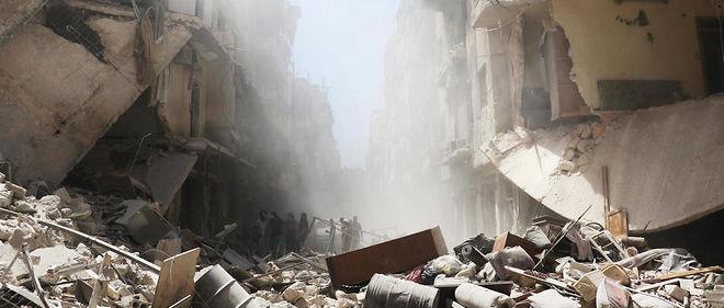 Alep, le 26 juillet, après un bombardement par les forces du régime.