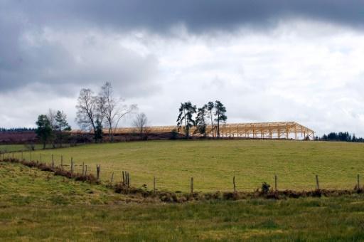 """Le site en construction de la """"ferme des mille veaux"""" à Saint-Martial-le-Vieux, le 17 janvier 2015 © THIERRY ZOCCOLAN AFP/Archives"""