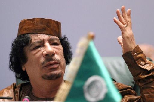 Mouammar Kadhafi lors d'un sommet africain le 10 octobre 2010 à Syrte © KHALED DESOUKI AFP/Archives