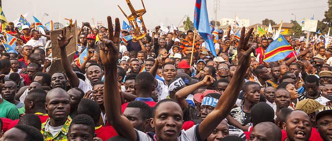 Des opposants lors d'une manifestation pro-Tshisekedi à Kinshasa le 31 juillet 2016.