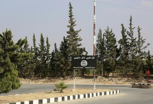 Un drapeau du groupe Etat islamique sur la route qui mène à Minbej, dans le nord de la Syrie, le 23 juin 2016 © DELIL SOULEIMAN AFP/Archives