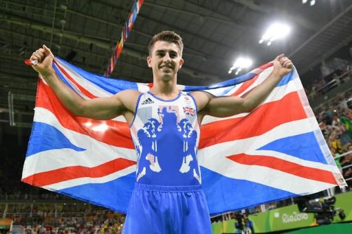 Le Britannique Max Whitlock, médaillé d'or au sol aux JO de Rio le 14 août 2016 © Ben STANSALL AFP