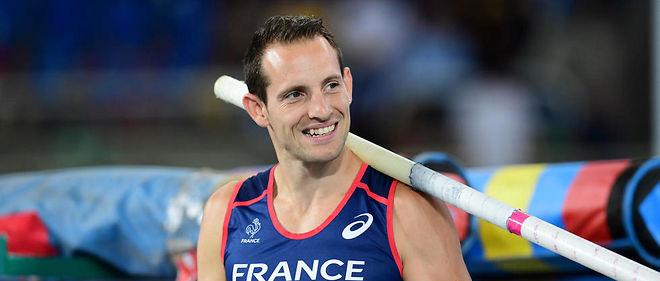 Renaud Lavillenie lors des qualifications du saut à la perche aux Jeux de Rio.
