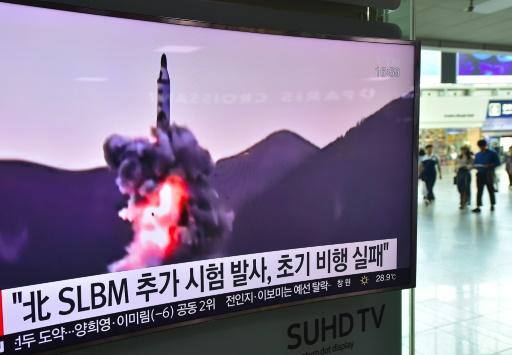 Retransmission le 9 juillet 2016 à la TV sud-coréenne d'un tir de missile non daté en Corée du Nord © JUNG YEON-JE AFP