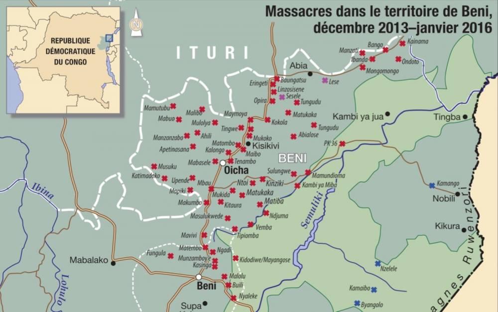 Carte des massacres dans la région de Beni. ©  GEC