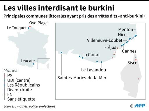 Les villes qui interdisent le Burkini © Alain BOMMENEL, Sabrina BLANCHARD AFP