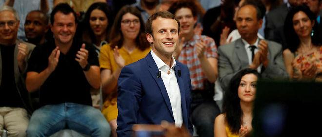 Emmanuel Macron lors du meeting de son mouvement En marche ! à la Mutualité le 12 juillet.