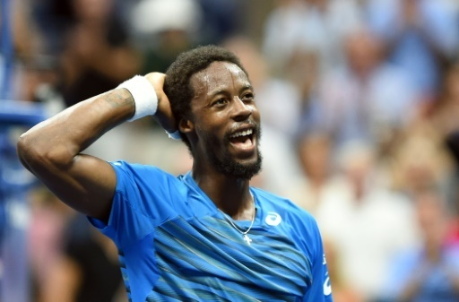 Gael Monfils en joie apres avoir battu Lucas Pouille en quarts de finale de l'US Open, le 6 septembre 2016 a New York