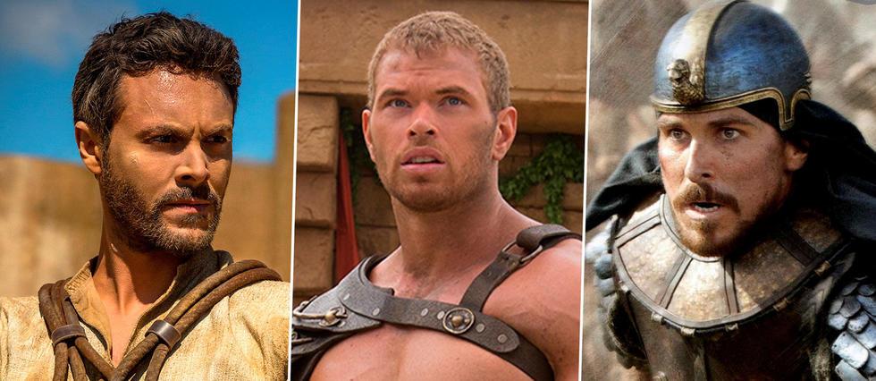 De gauche à droite : Jack Huston dans Ben-Hur version 2016, Kellan Lutz dans La légende d'Hercule (2014) et Christian Bale dans Exodus (2014)