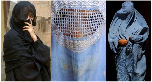 Montage présentant des femmes portant un Niqab (g), et des Burqas (c et d) © STF AFP/Archives