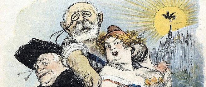 """Separation de l'Eglise et de l'Etat. Caricature parue dans """"Le Rire"""", le 20 mai 1905. L'homme au milieu est le ministre de l'Instruction publique de l'epoque Jean-Baptiste Bienvenu-Martin."""