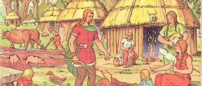 Un village gaulois vu par René Bresson, dessinateur de livres scolaires.