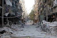 Le quartier Boustan al-Qasr à Alep, le 24 septembre 2016. Cinquante-six personnes auraient trouvé la mort lors d'un bombardement par les forces du régime appuyées par les Russes. ©Ibrahim Ebu Leys