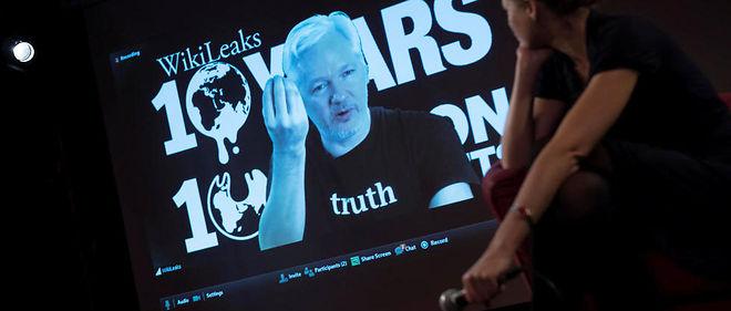 Julian Assange lors d'une visioconférence pour les 10 ans de WikiLeaks