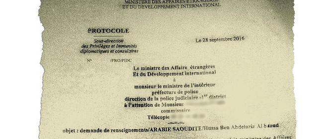 Note du Quai d'Orsay concernant l'immunité diplomatique de la princesse Hussa Ben Abdelaziz Al Saoud