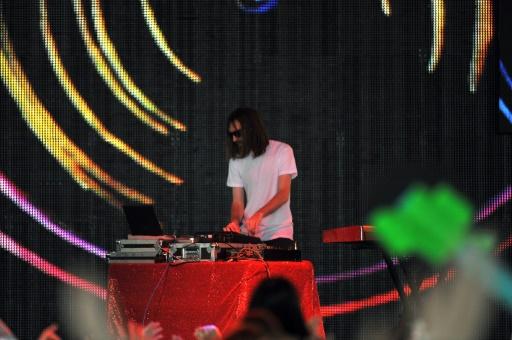 Breakbot sur la scène du Festival de Coachella, le 13 avril 2012 à Indio, aux Etats-Unis © MARK DAVIS GETTY IMAGES NORTH AMERICA/AFP/Archives