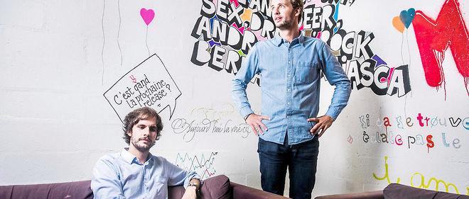 Hugo Mulliez et François-Xavier Trancart, Co-fondateurs de Artsper. Dans les locaux de leur start-up, paris 20e.