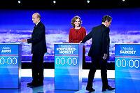 Nicolas Sarkozy, Nathalie Kosciusko-Morizet et Alain Juppé sur le plateau de TF1, jeudi soir. ©MARTIN BUREAU