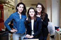 Béatrice Gherara, Élise et Raphaëlle Covilette, cofondatrices de Kokoroe, start-up proposant des cours particuliers, des cours collectifs et des cours en ligne. ©Xavier POPY/REA