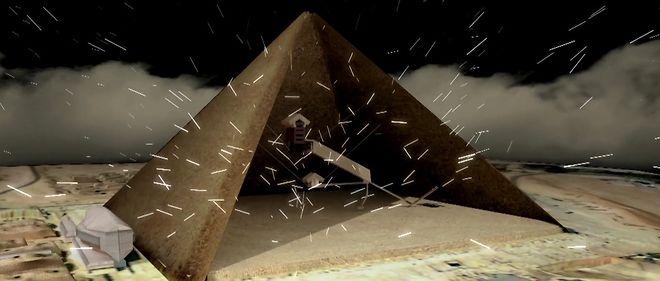 La pyramide de Khéops arrosée par les muons.