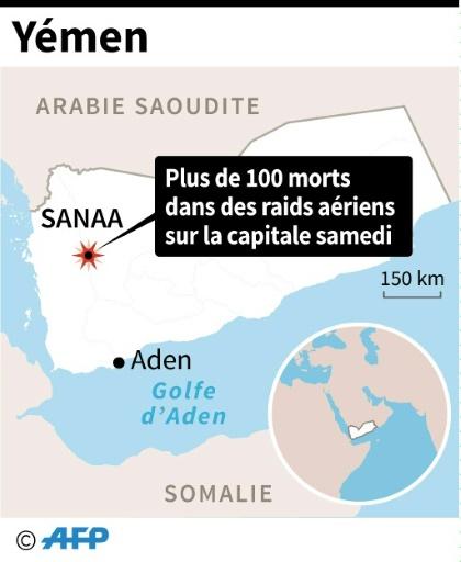 Carte du Yémen localisant Sanaa où des raids aériens attribués à la coalition arabe ont fait plus de cent morts  © AFP AFP