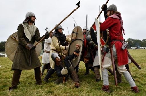 950e anniversaire de la bataille d'Hastings, le 15 octobre 2016 à Battle, dans le sud-ouest de l'Angleterre © BEN STANSALL AFP
