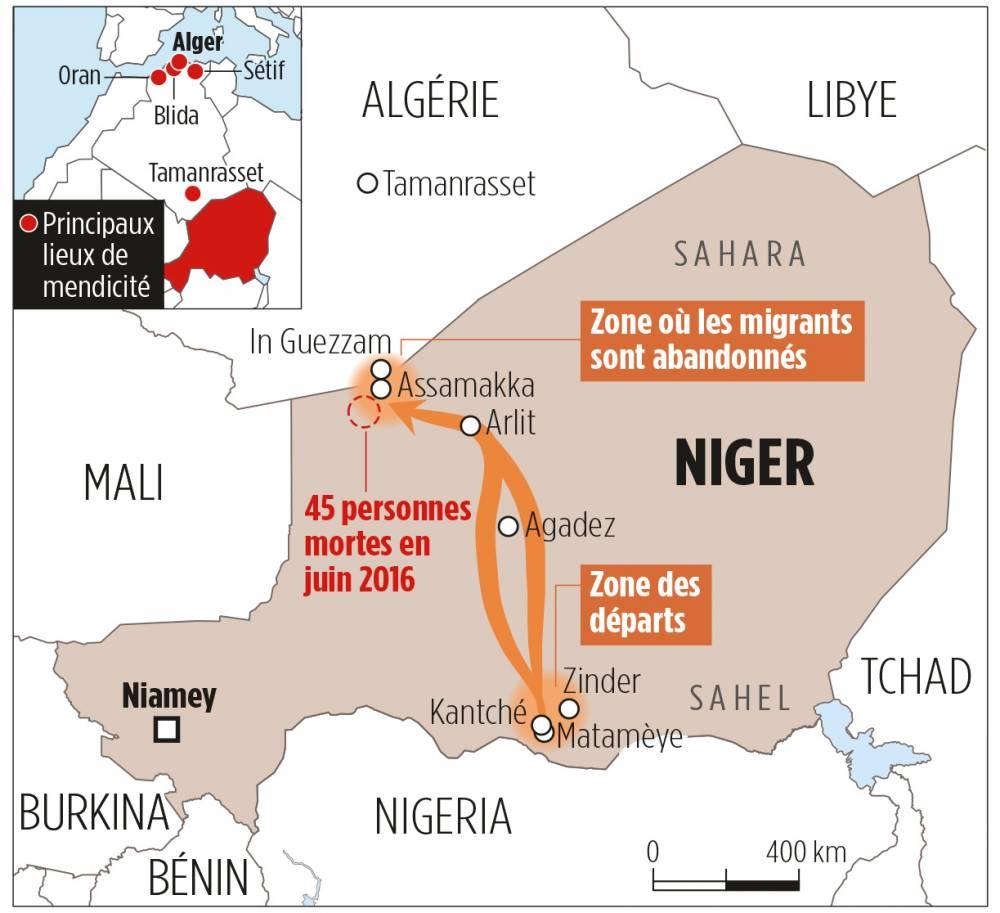 Carte de la zone où les migrants sont abandonnés.  ©  Le Point