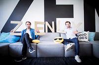 Intérieur des locaux open space de la start-up Zenly, à l'origine du développement d'une application, appli de géolocalisation. Zenly, réseau social permettant de localiser ses amis et sa famille en temps réel.  Antoine Martin et Alexis Bonillo, cofondateurs de Zenly. ©Denis ALLARD/REA