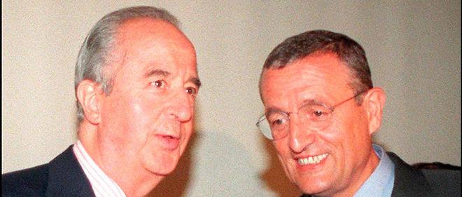 L'ancien Premier ministre Édouard Balladur s'entretient avec le président de l'UDF François Léotard lors d'un meeting. Image d'illustration.