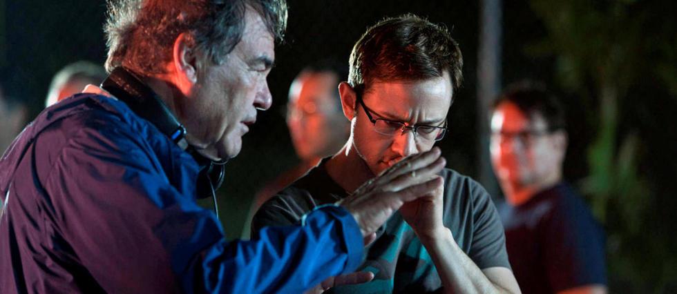 Oliver Stone sur le tournage de Snowden avec l'acteur Joseph Gordon-Levitt