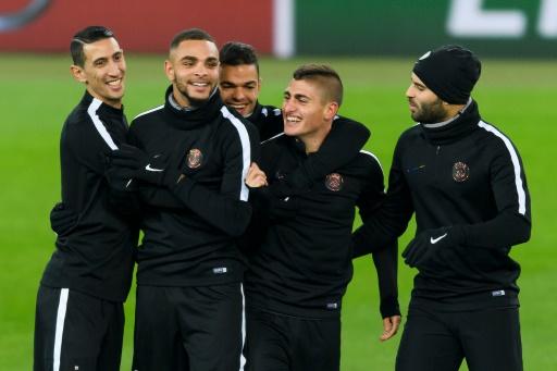 Les joueurs du PSG à l'entraînement le 31 octobre 2016 à Bâle © FABRICE COFFRINI AFP