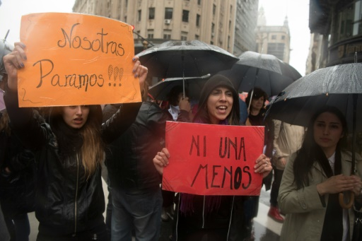 """""""Ni una menos"""" (pas une de moins) sur une pancarte lors d'une manifestation contre les violences faites aux femmes, à Buenos Aires le 19 octobre 2016 © Eitan ABRAMOVICH AFP/Archives"""