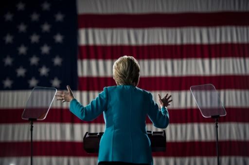 Hillary Clinton, lors d'un meeting à Cleveland (Ohio), le 6 novembre 2016 © Brendan Smialowski AFP