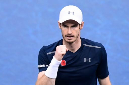 Le Britannique Andy Murray après sa victoire contre le Tchèque Tomas Berdych, le 4 novembre 2016 à Paris-Bercy © MIGUEL MEDINA AFP