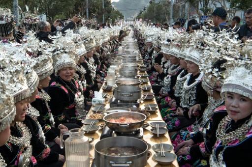 La minorité Miao célèbre le Nouvel an à Leishan, dans la province de Guizhou, dans le sud-ouest de la Chine, le 4 novembre 2016 © FRED DUFOUR AFP