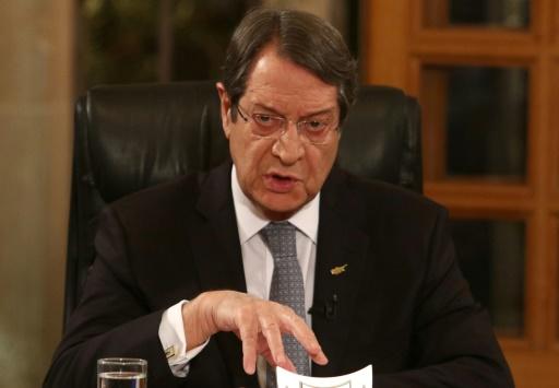 Le président chypriote Nicos Anastasiades lors d'une allocution télévisée le 4 novembre 2016 © YIANNIS KOURTOGLOU POOL/AFP
