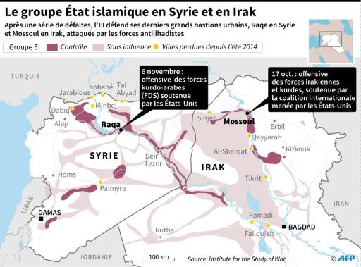 Le groupe Etat islamique en Syrie et en Irak © AFP , John SAEKI AFP