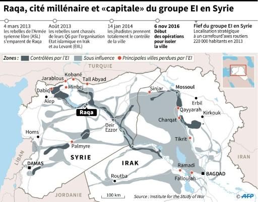 """Raqa, cité millénaire et """"capitale"""" du groupe EI en Syrie © Philippe MOUCHE, Simon MALFATTO, Sabrina BLANCHARD AFP"""