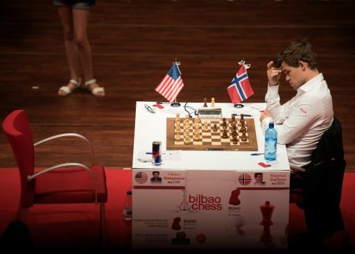 Le champion norvégien des échecs Magnus Carlsen, lors de la finale des Maîtres de Bilbao, le 19 juillet 2016 © ANDER GILLENEA AFP/Archives