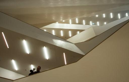 Vue en date du 4 novembre 2016 de l'intérieur de la salle de concert dessinée par le célèbre cabinet d'architectes suisse Herzog © John MACDOUGALL AFP/Archives