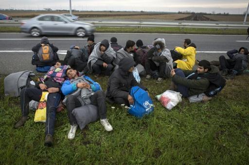 Des migrants et des réfugiés près du village de Simanovci sur une route reliant Belgrade à la frontière croate, le 12 novembre 2016  © OLIVER BUNIC AFP