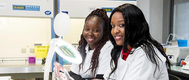 Têtes chercheuses. LaNigérienne Maryam Tidjani Alou (à gauche) etlaSénégalaise Sokhna Ndongo au laboratoire de bactériologie-virologie de Didier Raoult, par ailleurs éditorialiste au «Point», àl'hôpital de laTimone, à Marseille, le26octobre.