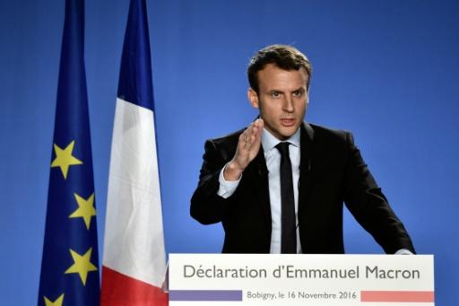 Emmanuel Macron lors de l'annonce de sa candidature à la présidentielle le 16 novembre 2016 à Bobigny © PHILIPPE LOPEZ AFP