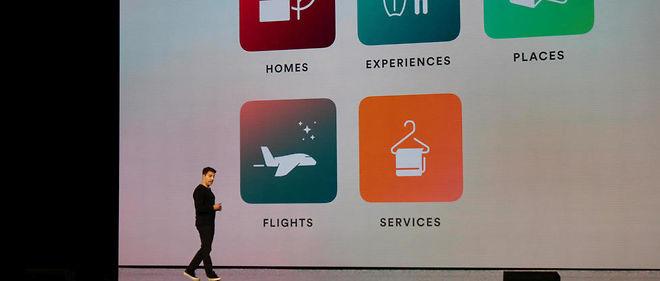 Quel avenir pour Airbnb ? Le fondateur et PDG d'Airbnb, Brian Chesky, lors de la conférence annuelle de la start-up organisée du 17 au 19 novembre à Los Angeles.