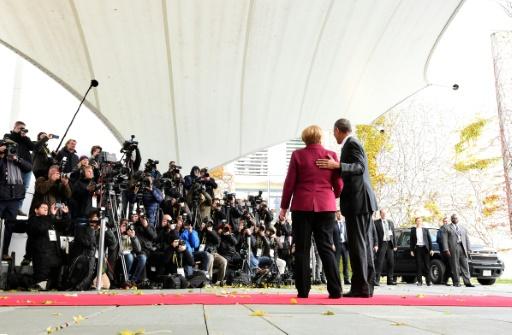 La chancelière allemande Angela Merkel avec le président américain Barack Obama le 18 novembre 2016 à Berlin © TOBIAS SCHWARZ                      AFP