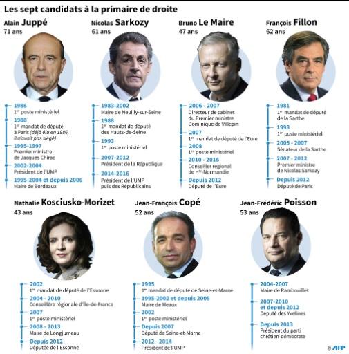 Les 7 candidats à la primaire de droite © Paz PIZARRO, Paul DEFOSSEUX AFP