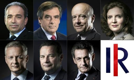 Montage de portraits des 7 candidats à la primaire de la droite et du centre  © Kenzo TRIBOUILLARD, Lionel BONAVENTURE, Martin BUREAU, Joël SAGET AFP/Archives